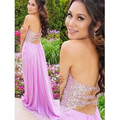 A-Line/Princess Sweetheart Sweep Train Prom Dresses With Appliques Lace