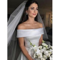 Chic Court Train A-Line/Princess Wedding Dresses Off-The-Shoulder Satin Sleeveless
