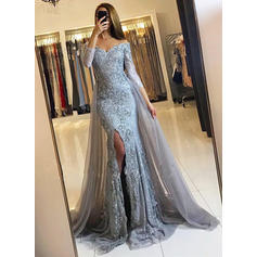 Trumpet/Mermaid Off-the-Shoulder Court Train Evening Dresses With Split Front (017145728)