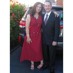 Corte A/Princesa Escote en V Satén Magnífico Vestidos de madrina (008212790)