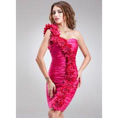Sheath/Column One-Shoulder Knee-Length Charmeuse Cocktail Dresses With Ruffle Flower(s) (016008873)