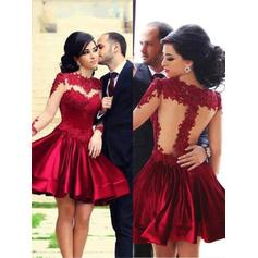 Chic Satin Homecoming Dresses A-Line/Princess Short/Mini High Neck Long Sleeves