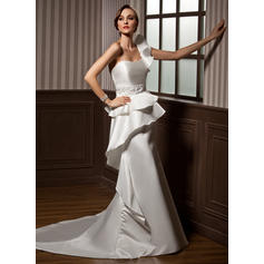 Beautiful One Shoulder Trumpet/Mermaid Wedding Dresses Chapel Train Satin Sleeveless (002211282)