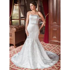 Magnificent Chapel Train Trumpet/Mermaid Wedding Dresses Sweetheart Satin Lace Sleeveless