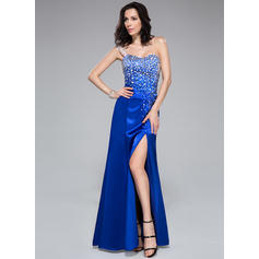 Newest Trumpet/Mermaid Charmeuse Floor-Length Sleeveless Prom Dresses (018046205)