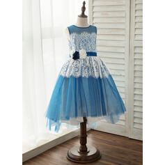 A-Line/Princess Asymmetrical Flower Girl Dress - Tulle/Lace Sleeveless Scoop Neck With Flower(s) (010141205)