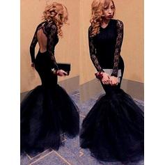 Long Sleeves - Tulle Sexy Evening Dresses
