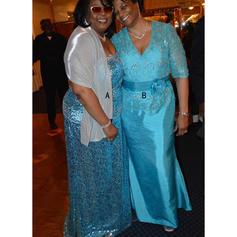 Corte A/Princesa Escote en V Satén Lujoso Vestidos de madrina