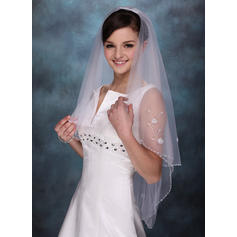 Elbow Bridal Veils Tulle One-tier Classic With Beaded Edge Wedding Veils
