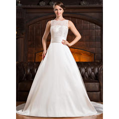 Newest Chapel Train A-Line/Princess Wedding Dresses Scoop Satin Lace Sleeveless