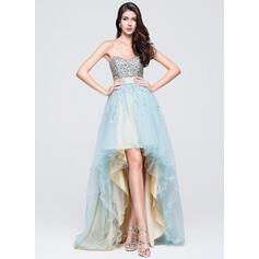 A-Line Sweetheart Asymmetrical Tulle Prom Dresses
