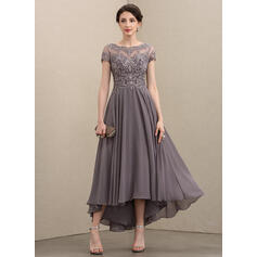 A-Line Scoop Neck Asymmetrical Chiffon Lace Evening Dress With Beading Sequins (017211395)
