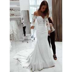Long Sleeves Off-The-Shoulder With Chiffon Wedding Dresses