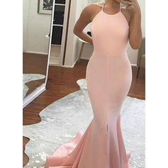 Jersey Sleeveless Trumpet/Mermaid Prom Dresses Halter Split Front Sweep Train