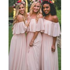 A-Line/Princess Chiffon Bridesmaid Dresses Cascading Ruffles Off-the-Shoulder Sleeveless Floor-Length (007145005)