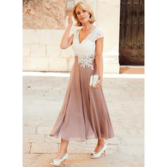 Chiffon Lace Tea-Length A-Line/Princess Short Sleeves Mother of the Bride Dresses