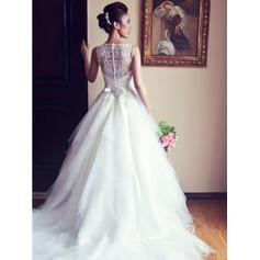 Magnificent Chapel Train A-Line/Princess Wedding Dresses Scoop Tulle Sleeveless