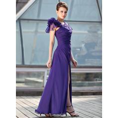 Forme Princesse Mousseline Manches courtes Longueur ras du sol Fermeture éclair Robes mère de la mariée (008213148)