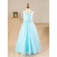 Ball Gown Straps Floor-length With Beading/Sequins/Rhinestone Tulle Flower Girl Dresses