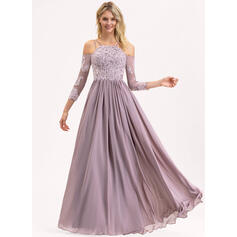 A-Line Square Neckline Floor-Length Chiffon Lace Bridesmaid Dress (007190719)