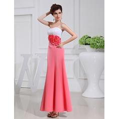 A-Line/Princess Strapless Ankle-Length Bridesmaid Dresses With Flower(s)