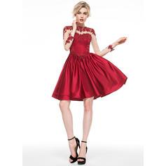 Delicado Corte A/Princesa Escote redondo Satén Baile de promoción (016081115)