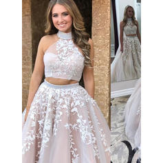 A-Line/Princess Tulle Prom Dresses Appliques Lace High Neck Sleeveless Sweep Train (018210923)