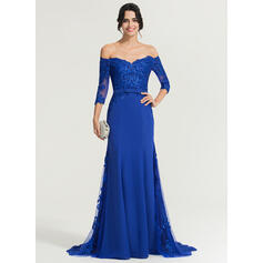 Trumpet/Mermaid Off-the-Shoulder Sweep Train Chiffon Evening Dress With Sequins Bow(s) (017167715)