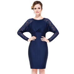 Sheath/Column Scoop Neck Knee-Length Jersey Cocktail Dress With Ruffle Beading (016050138)