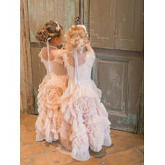 A-Line/Princess Scoop Neck Floor-length With Ruffles Tulle Flower Girl Dresses