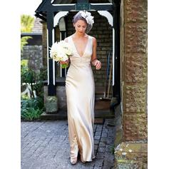 2019 New Floor-Length Sheath/Column Wedding Dresses Deep V Neck Satin Sleeveless