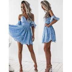 A-Line/Princess Off-the-Shoulder Short/Mini Lace Cocktail Dresses With Cascading Ruffles