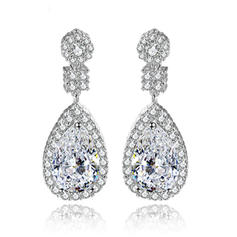 Earrings Copper/Zircon/Platinum Plated Pierced Ladies' Shining Wedding & Party Jewelry