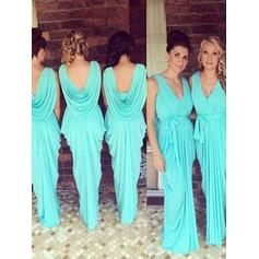 Sheath/Column Jersey Bridesmaid Dresses Ruffle Bow(s) V-neck Sleeveless Floor-Length