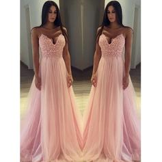 A-Line/Princess Tulle Prom Dresses Delicate Sweep Train V-neck Sleeveless
