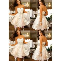 Delicate Tulle Homecoming Dresses A-Line/Princess Knee-Length Sweetheart Sleeveless