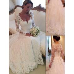Ball-Gown V-neck Chapel Train Lace Wedding Dresses (002144832)