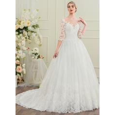 vestidos de novia de longitud de té más tamaño