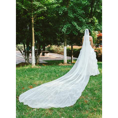 Cathedral Bridal Veils Tulle One-tier Classic/Drop Veil With Pencil Edge Wedding Veils