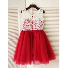 Escote redondo Corte A/Princesa Vestidos para niña de arras Plisado Sin mangas Hasta la rodilla (010211821)