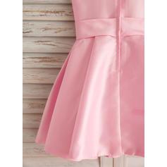 Col rond Forme Princesse Robes de demoiselle d'honneur - fillette Satiné/Coton Broderie Sans manches Longueur genou (010212154)