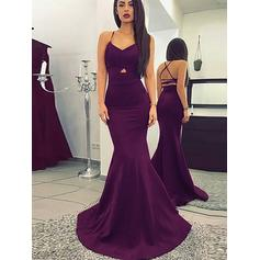 Trumpet/Mermaid V-neck Satin Sleeveless Sweep Train Ruffle Evening Dresses