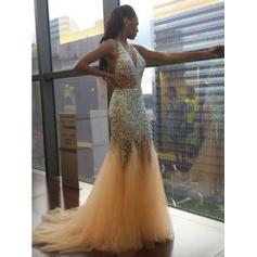 Trumpet/Mermaid V-neck Tulle Sleeveless Sweep Train Beading Evening Dresses
