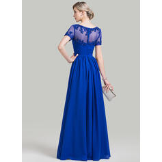 Corte A Amada Longos Tecido de seda Vestido para a mãe da noiva com Pregueado Beading Apliques de Renda lantejoulas (008085275)