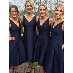 Ruffle V-neck With Luxurious Satin Bridesmaid Dresses