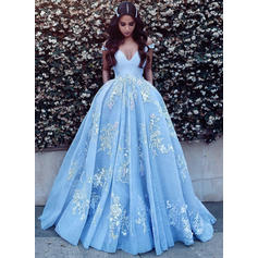 Ball-Gown Tulle Prom Dresses Delicate Sweep Train Off-the-Shoulder Sleeveless (018148398)