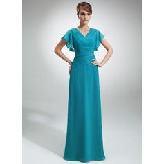 A-Line/Princess V-neck Chiffon Short Sleeves Floor-Length Cascading Ruffles Mother of the Bride Dresses