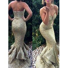 Sequined Sleeveless Trumpet/Mermaid Prom Dresses Sweetheart Sweep Train