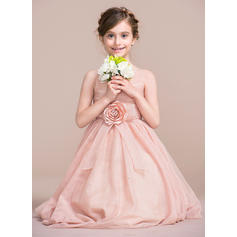 A-Line/Princess Tea-length Flower Girl Dress - Tulle Sleeveless Straps With Flower(s) (010106131)