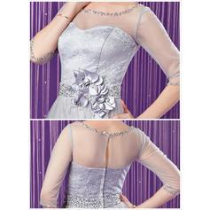 Vestidos princesa/ Formato A Tule Renda Manga 1/2 Decote redondo Sweep/Brush trem Zipper nas costas Vestidos para a mãe da noiva (008213158)